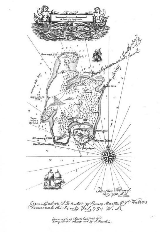 Mapa isla del tesoro Stevenson